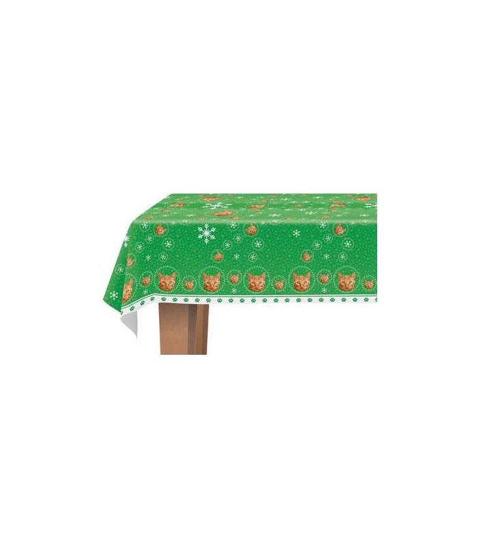 une jolie nappe d cor e d 39 un motif repr sentant une t te de chat roux. Black Bedroom Furniture Sets. Home Design Ideas