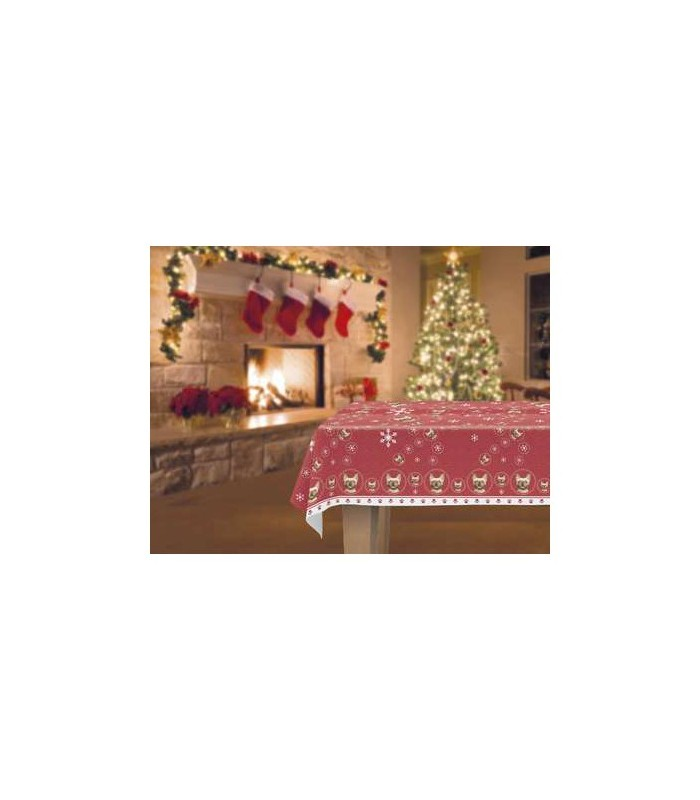 une jolie nappe d cor e d 39 un motif repr sentant une t te de bouledogue fran ais. Black Bedroom Furniture Sets. Home Design Ideas