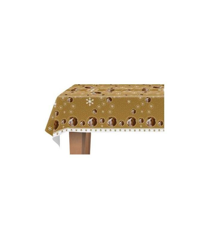 une jolie nappe d cor e d 39 un motif repr sentant une t te de cochon d 39 inde. Black Bedroom Furniture Sets. Home Design Ideas