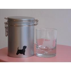 Verre à whisky et sa boite métal - west highland white terrier