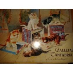 Plaque publicitaire en émail sur le thème du chat