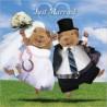 """Carte postale représentant un couple de cochon d'Inde """"just married"""""""