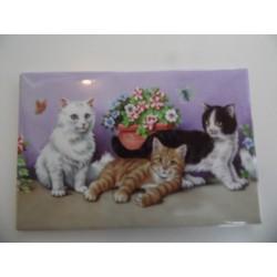 Magnet représentant trois chatons dans les fleurs sur fond mauve