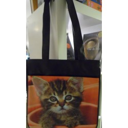 SAC A MAIN DECORE D'UNE PHOTO DE CHATON