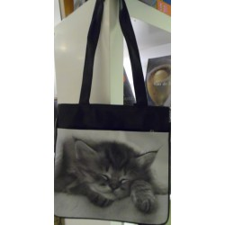 SAC A MAIN DECORE D'UNE PHOTO DE CHATON ENDORMI