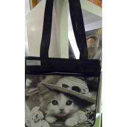 SAC A MAIN DECORE D'UNE PHOTO DE CHATON COIFFE D'UN CHAPEAU