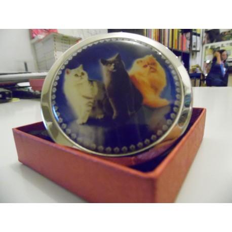 Miroir de poche trois chats de races différentes