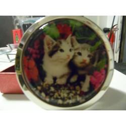 Miroir de poche têtes deux chatons