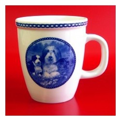 MUG BEARDED COLLIE EN PORCELAINE BLEUE DU DANEMARK