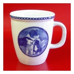 MUG BORDER COLLIE EN PORCELAINE BLEUE DU DANEMARK