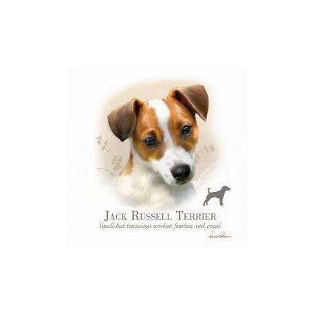 Carte postale représentant un portrait sépia de jack russell terrier