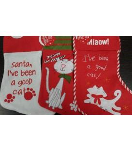 Assortissement de trois chaussettes de Noël sur le thème du chat