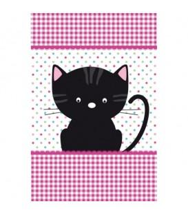 AU BONHEUR DU CHAT. Torchon décoratif représentant un chaton heureux