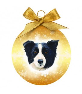 BOULE DE NOEL A L'EFFIGIE DU BORDER COLLIE