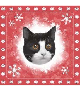20 serviettes de table en papier décorées d'un motif chat noir et blanc