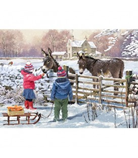 """Puzzle """"ânes et enfants dans un paysage hivernal"""" - 1000 ¨PIECES"""