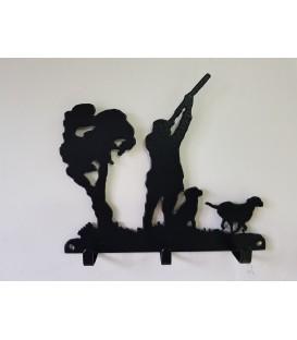 Porte-clés mural en acier représentant un chasseur et ses deux chiens