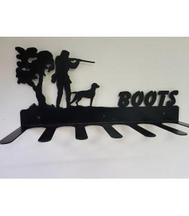 Porte-bottes mural en acier décoré d'une silheouette de chasseur en action - 3 paires