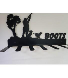 Porte-bottes mural en acier décoré d'une silhouette de chasseur en action - 3 paires