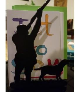 Porte-lettres en acier décoré d'une silhouette d'un chasseur en action et son chien