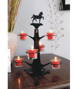 Arbre à bougies décoré d'une silhouette de chat