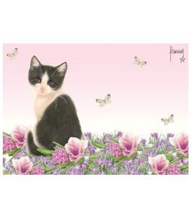 """Set de table """"chaton,fleurs et papillons"""""""