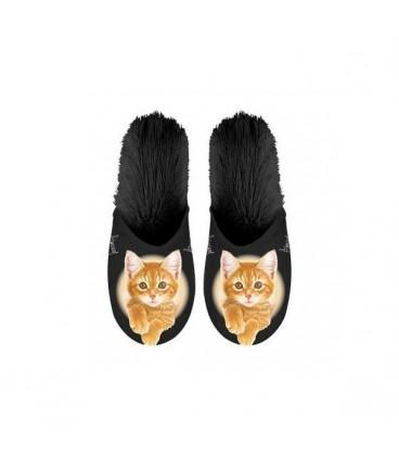 Paire de pantoufles motif chat roux. Taille 35/39