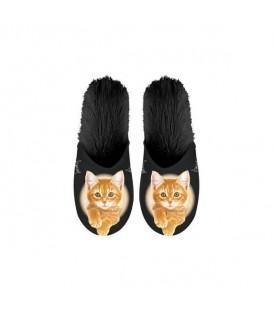 Paire de pantoufles motif chat roux. Taille 39/42