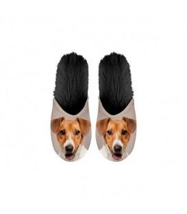 Paire de pantoufles motif jack russell terrier. Taille 35/38