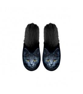Paire de pantoufles motif chat noir. Taille 39/42