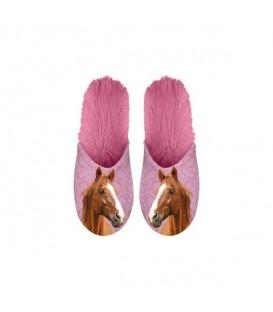 Paire de pantoufles motif chevaux. Taille 35/38