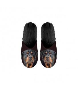 Paire de pantoufles motif rottweiler. Taille 39/42