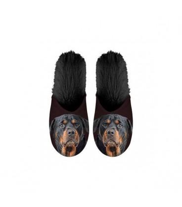Paire de pantoufles motif rottweiler. Taille 35/38