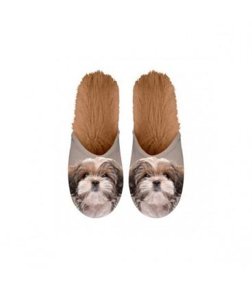 Paire de pantoufles motif shih tzu. Taille 35/38