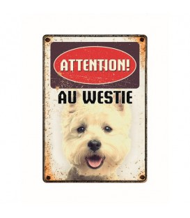 "Plaque vintage en métal ""Attention au golden retriever"""
