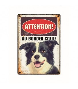 "Plaque vintage en métal ""Attention au border collie"""