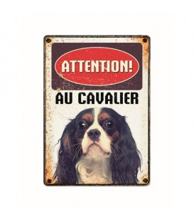 "Plaque vintage en métal ""Attention au cavalier king charles"""