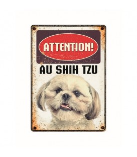 "Plaque vintage en métal ""Attention au shih tzu"""