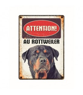 "Plaque vintage en métal ""Attention au rottweiler"""