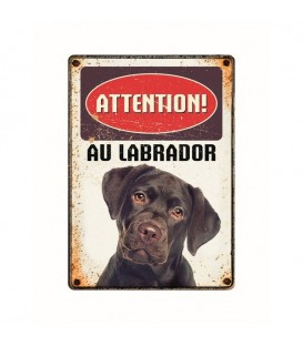 "Plaque vintage en métal ""Attention au labrador"""
