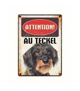 "Plaque vintage en métal ""Attention au teckel"""