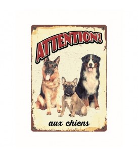 "Plaque vintage en métal ""Attention aux chiensl"""