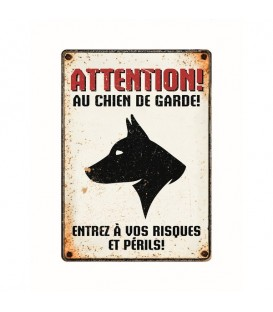 "Plaque vintage en métal ""Attention au chien de gardel"""