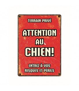 "Plaque vintage en métal ""Attention au chien"""