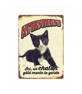"Plaque vintage en métal ""Attention chaton gâté"""