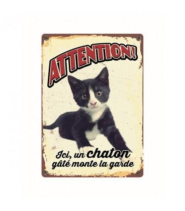 """Plaque vintage en métal """"Attention chaton gâté"""""""
