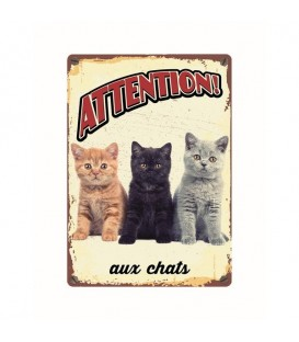 "Plaque vintage en métal ""Attention aux chats"""
