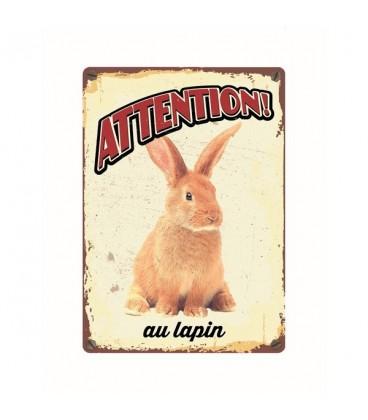 """Plaque vintage en métal """"Attention au lapin"""""""