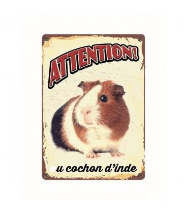 """Plaque vintage en métal """"Attention au cochon d'Inde"""""""