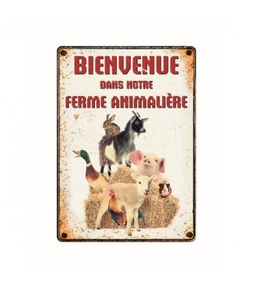 """Plaque vintage en métal """"Bienvenue dans notre ferme animalière"""""""